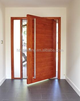 madera entrada puerta pivotante con ventanas laterales - Puerta Pivotante