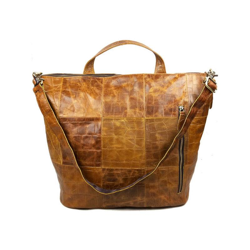 Luxury Vintage Casual 100% Genuine Oil Wax Leather Cowhide Women Tote Handbag Shoulder Messenger Cross Body Bag Bags For Ladies