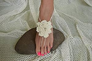 Ivory Crochet Sandals,Wedding Accessory,Sexy Beach Sandals, Crochet Barefoot Sandals, Destination Sandals , Crochet Anklet, Sexy Lace Sandals,Beach,Wedding Footwear, Bridesmaid Sandals (Iovry-04)