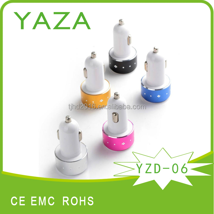 YZD-06 2 usb port car charger for cellphone with usb hub