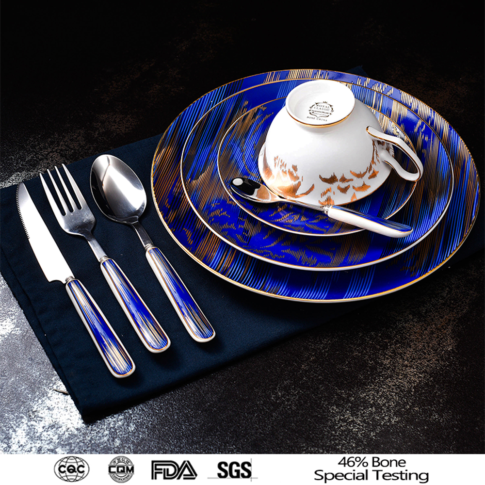 factory price blue crockery dinner set with engraved tea cup with color box restaurant ceramic butter dish