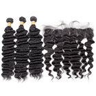 Best Wholesale Natural Malaysian 100% 10A Grade Virgin Human Hair Loose Deep A Lace Frontal With Three Bundles