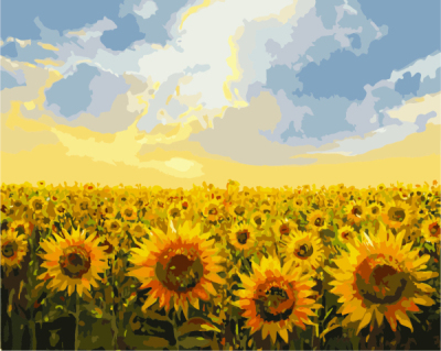 Manufacturer wholesale DIY picture sunflower canvas oil painting by numbers for home decoration