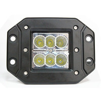 "3"" Square 18 Watt LED Mini Auxiliary Work Light - Flush Mount, 18W 90 degree - Black ATV, Motorcycle"