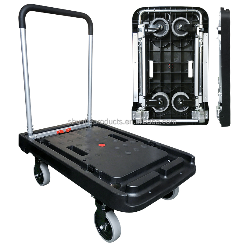 Heavy duty Plastic Platform Hand Truck with aluminum handle with big capacity 200KGS