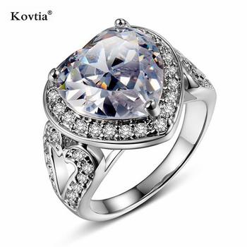 Очаровательная 20 К золото палец искусственный бриллиант кольца с сердцем  формы Большой бриллиантовое CZ Кольцо для e785a5371aa