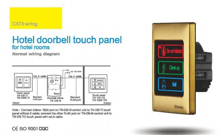 Touch Control Hotel Doorbell Indicator Of Dnd Make Up Cat5 Connecting on 2 bells wiring for doorbell, wiring multiple doorbells, repair a doorbell, wiring switch, wiring light, household wiring doorbell, wiring smoke detectors, wiring ceiling fan,