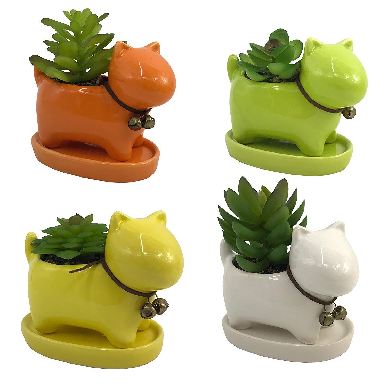 4 PCS Set Cute Cartoon Coloful Ceramic Dog Shaped Succulent Cactus Flower Pot/Plant Pots/Planter/Container for Home Garden Office Desktop Decoration (Plants Not Included)