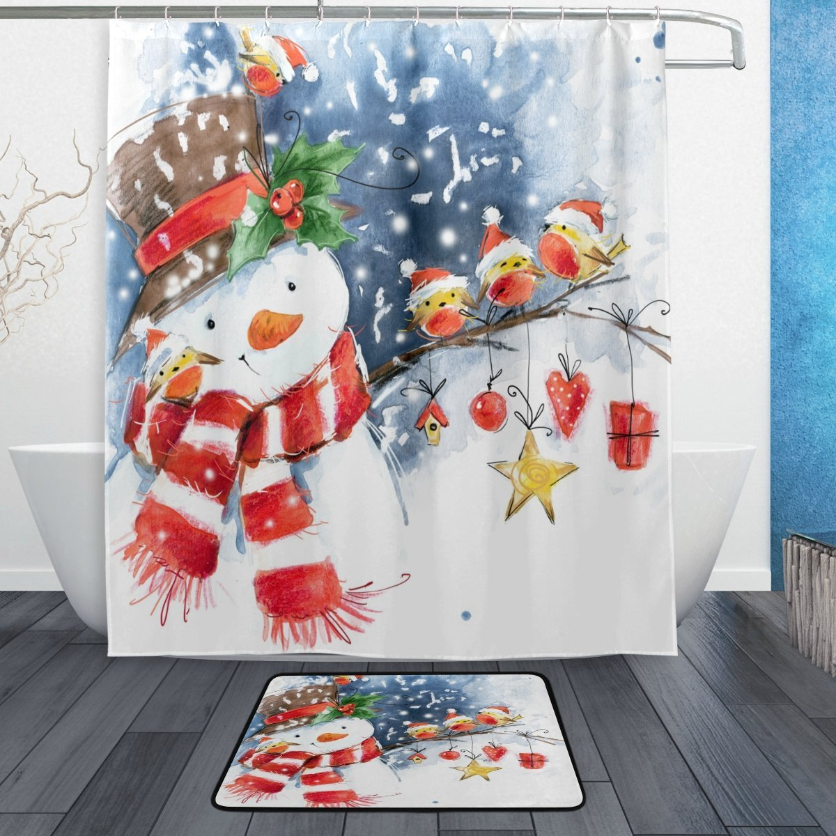 Buy Alaza Set Of 2 Winter Christmas 60 X 72 Inches Shower