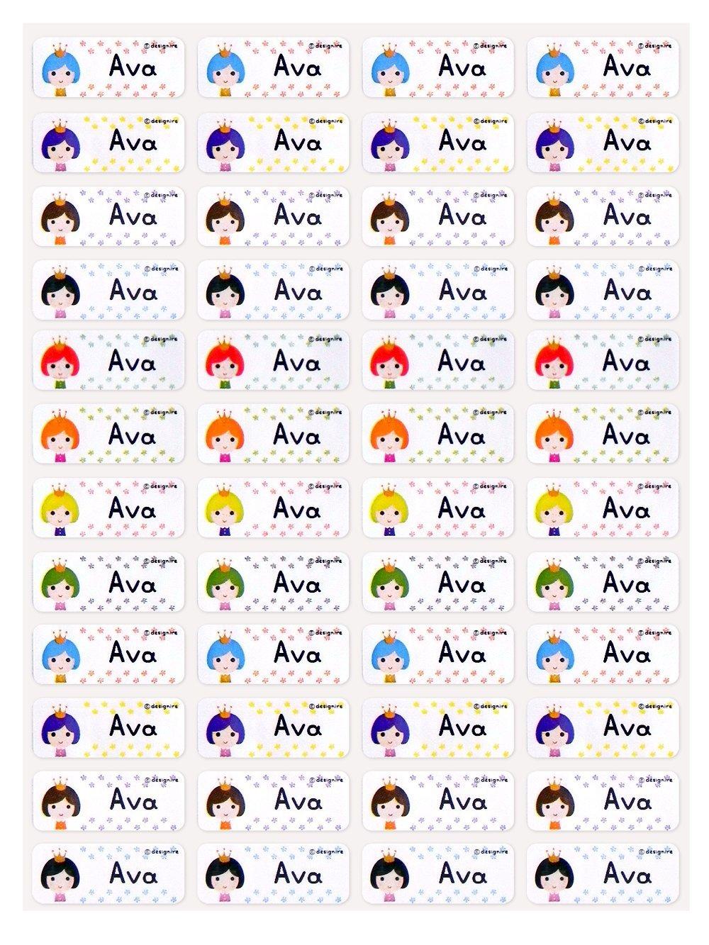 NS2 Small Size of Rainbow Princess (144pcs) 22mmx9mm Individual Name Sticker, Name Label, Custom Solutions, Custom-made Name Sticker, Print Full Name Sticker