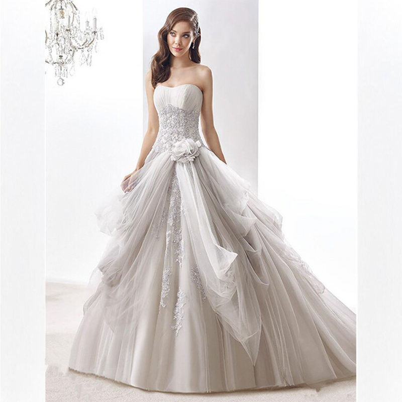 Luxury A Line Wedding Dress 2015 Beaded Tulle Wedding Gowns Vestidos Longos De Renda Strapless Bridal Dresses Vestido De Noiva