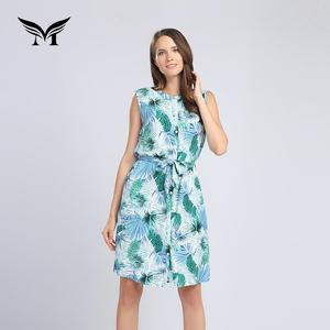 Custom made holiday ladies casual bangkok floral dresses with sashes