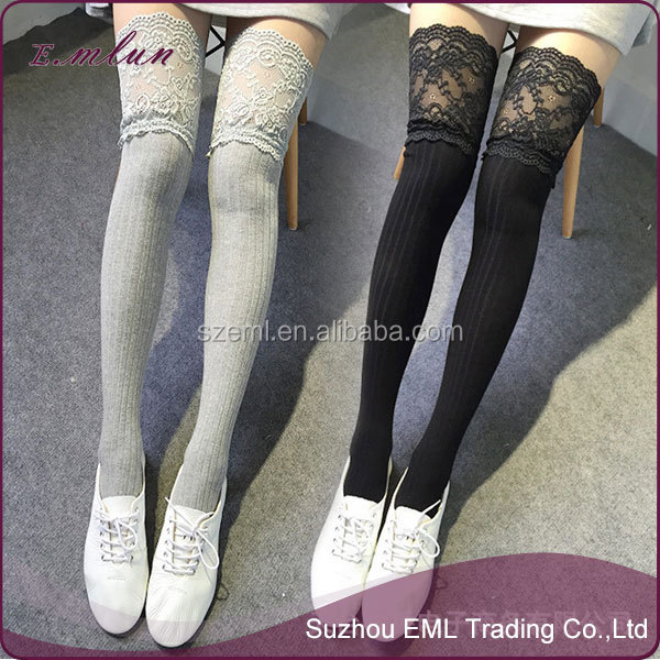 Fashion lace top stocking cotton stockings wholesale thigh high compression stockings with cheap price EML-12-W2042