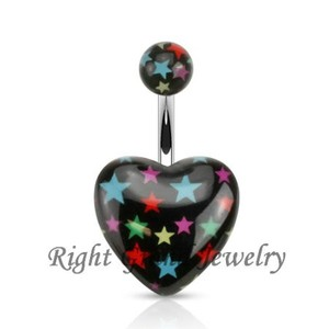 Free Sample Star Printed Acrylic Heart Navel Button Ring Jewelry 14G Steel Picture Belly Ring