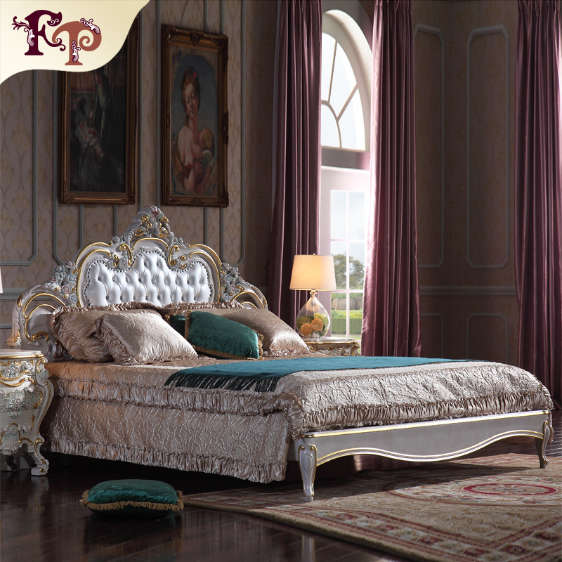 Antiguos tallados a mano cama muebles de dormitorio cama de cuero ...