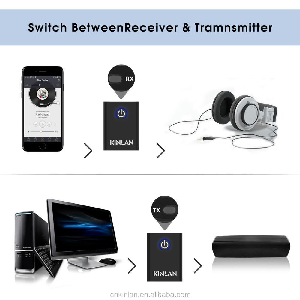 Kinlan Amazon best sellers Mini 2 in 1 V4.1 wireless bluetooth Stereo transmitter and receiver for music