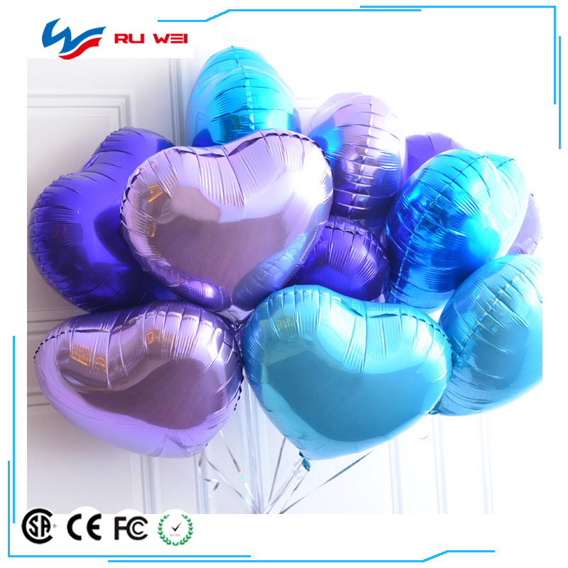 18inch Multicolor Heart Shape Aluminum Foil Balloons Wedding Decoration Helium Balloon Inflatable Air Balls Party Supplies