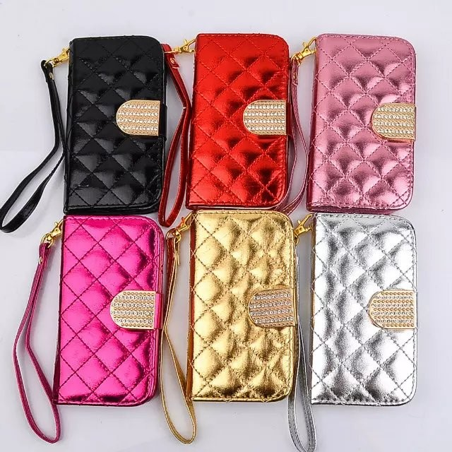 cross clip Flip case for iphon5 Se luxury SHINY QUILT diamond WALLET POUCH WITH CARD SLOT BLACK