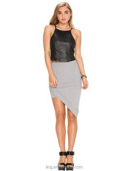 2015 Summer Fashion Grey Cotton Tight Eclipse Midi Skirt For Women ...