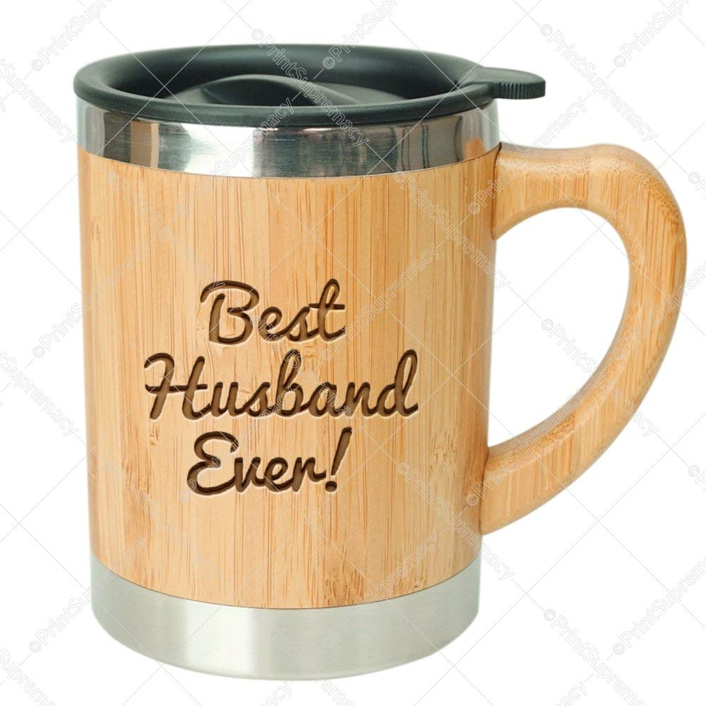 Best Husband Ever Stainless Steel Bamboo Coffee Mug Insulated With Lid