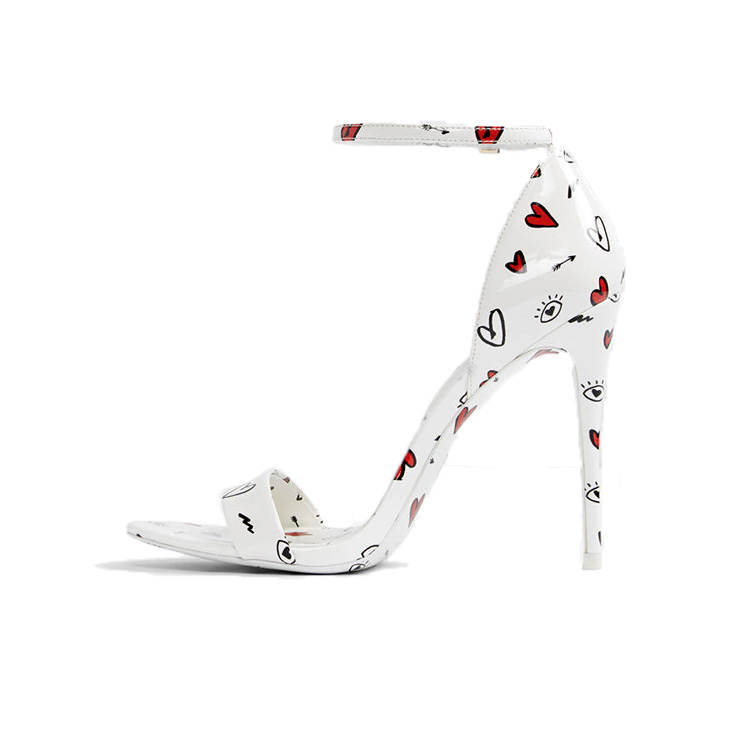New arrival ladies girls printed white shoes evening women heeled <strong>sandals</strong>
