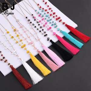 Wholesale Red Yellow Blue Chips Stone Beaded Tassel Necklace