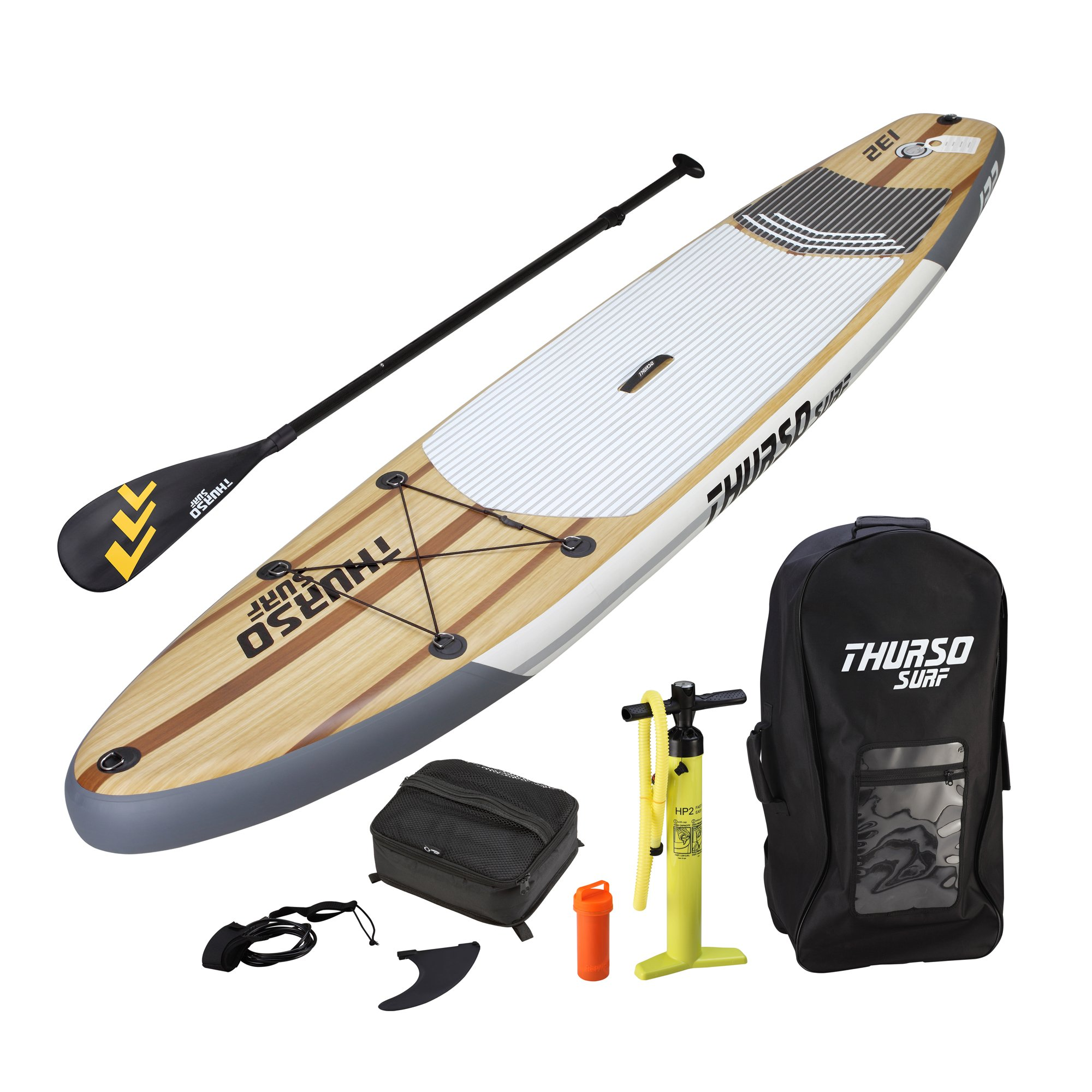 THURSO SURF Waterwalker All-Around Inflatable Stand Up Paddle Board SUP 10'6/11' Long 6'' Thick TWO LAYER Deluxe Package Includes CARBON Shaft Paddle/2+1 Quick Lock Fins/Deck Bag/Leash/Pump/Backpack