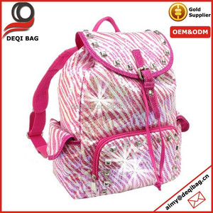 Glittery Sequined Zebra Studded Drawstring Backpack Bag