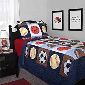 2 Piece Multi Kids Playful Sports Life Themed Quilt Twin Set, Beautiful All Over Games Pattern, Featuring Foot Ball, Basket Ball, Soccer, Base Ball, Gorgeous Colorful Square Pattern, Sports Logo Print
