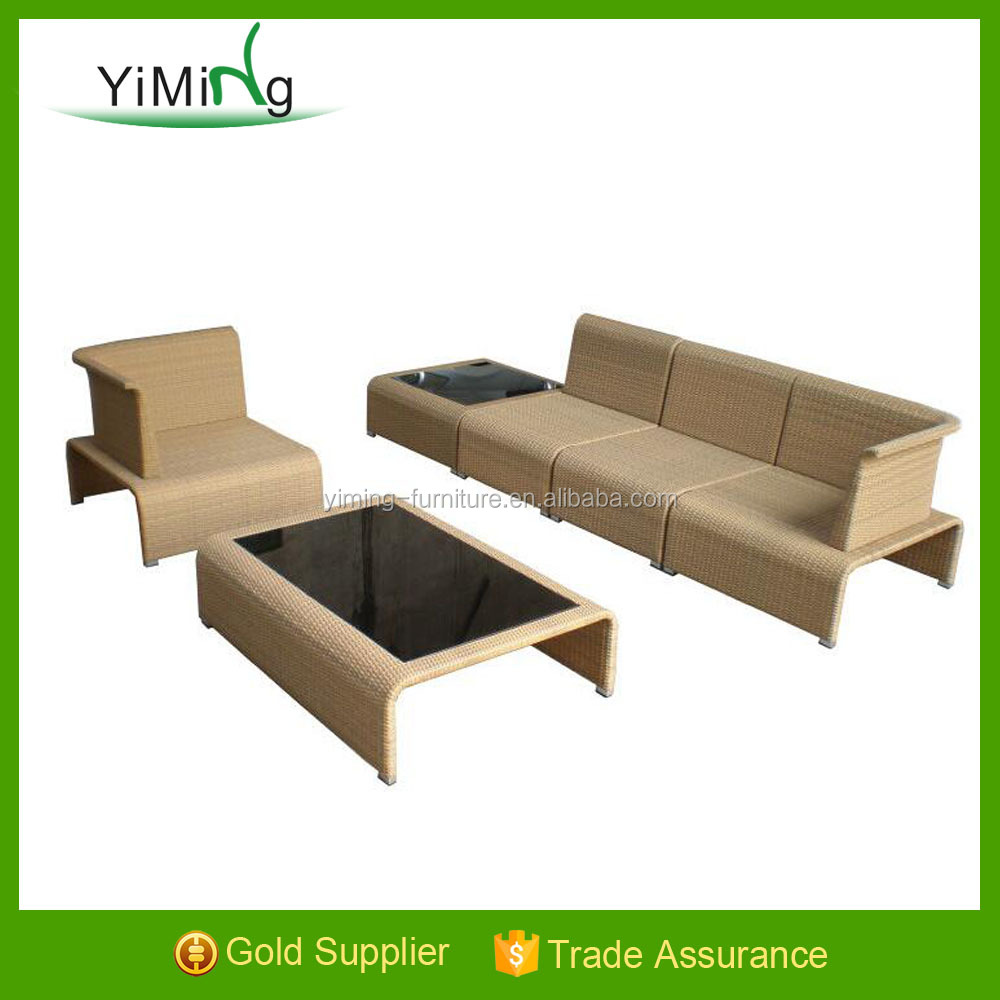Abel Model Hotel Poly Rattan Sectional KD Sofa Set with coffee color 8 mm tempered glass