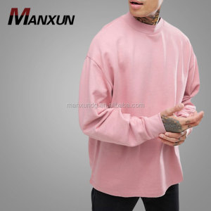 Men's Fashion European Blouse New Style Sweat Shirt Hoodies & Sweatshirt Oversized Sweatshirt Deep Neck Trim Pink Hoodie