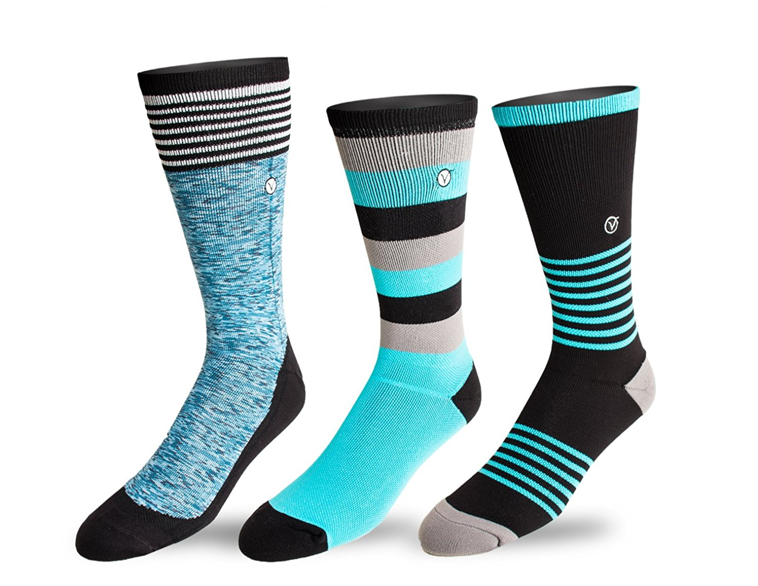 Youth 3 Pack Crew / Athletic Socks - Running, Basketball, Sports Training By VYBE (Size 5-8)