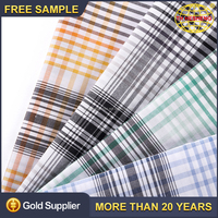 High quality yarn count plaid classical woven fabric for 100 cotton shirt