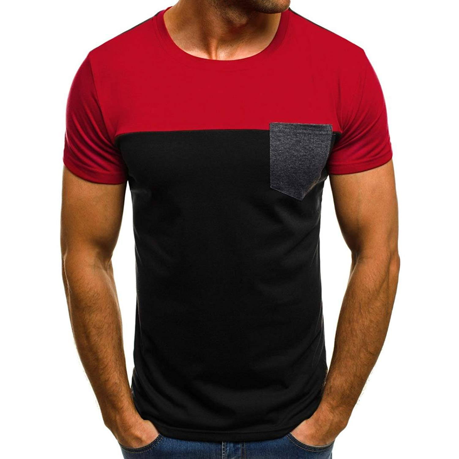 9088444d54e Get Quotations · Pervobs Men Shirts Clearance! Men Casual Fit Short Sleeve Shirts  Muscle Slim Patchwork Pocket T