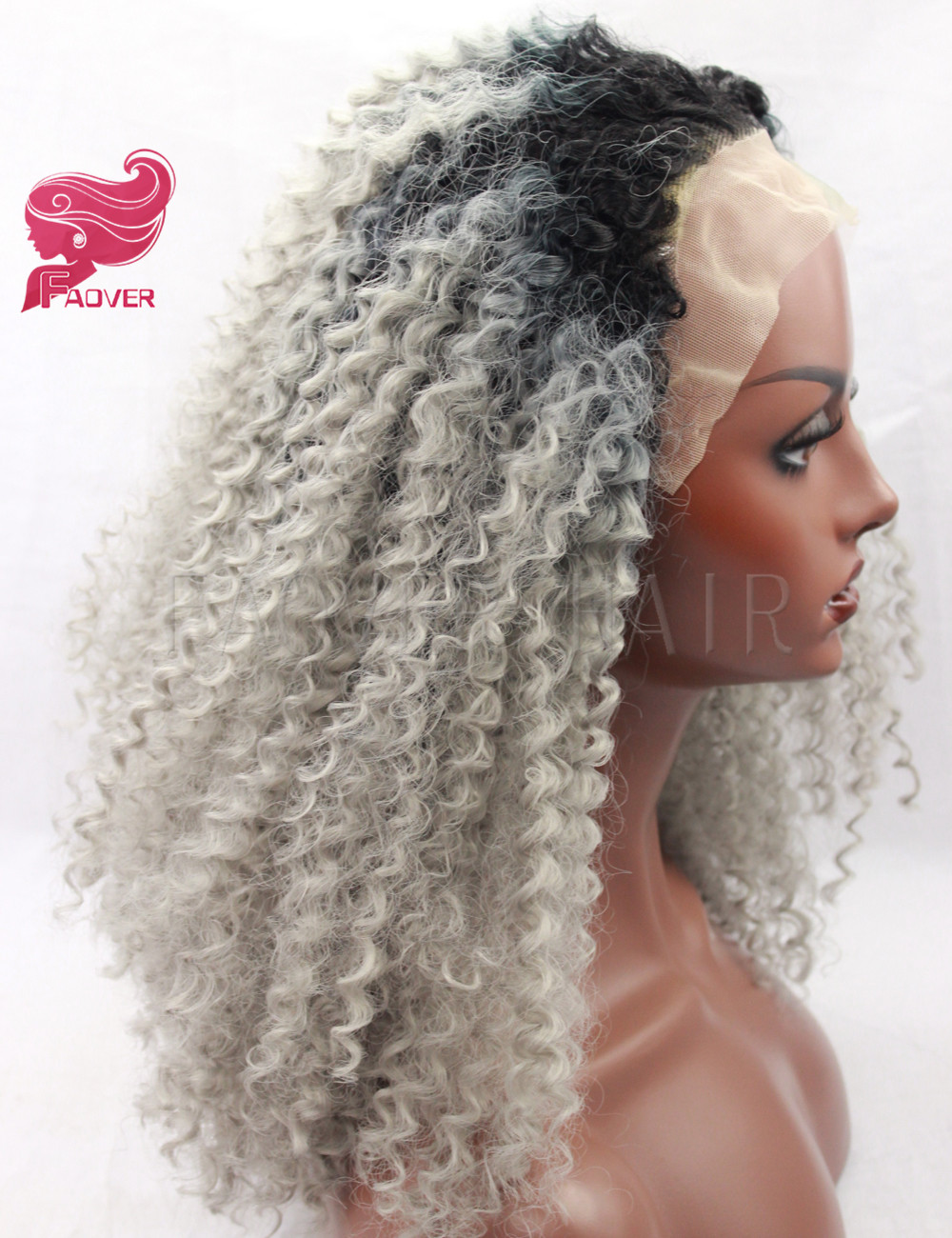 Halloween Ombre Grey Kinky Curly Heat Resistant Synthetic Glueless Lace Front Wigs Afro Kinky Curly Hair Wig for Women
