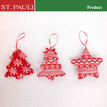 red white series novelty knit tree star shape decorative x'mas hanging ornament