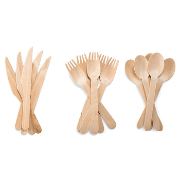 Eco-friendly  Disposable Wooden Cutlery Knife Fork Spoon Flatware Set
