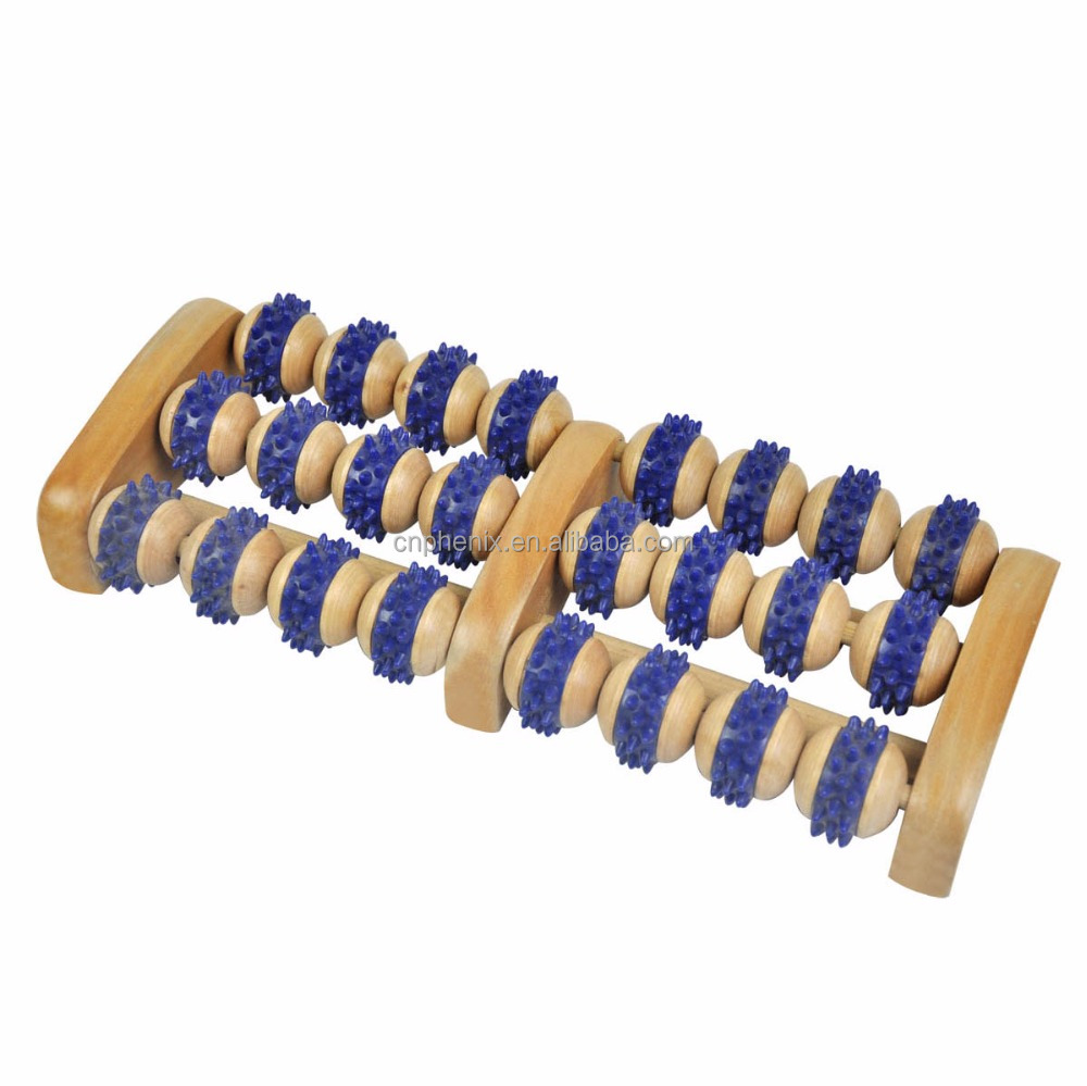 Wood Foot Massager 24 Balls Wooden Roller Stress Relief Body Massage Relax Feet