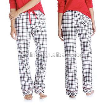 531997252b680 Пижамы оптом 100% хлопок супер мягкие фланелевые брюки сна пижамы женские  комфорт плед пижамные штаны