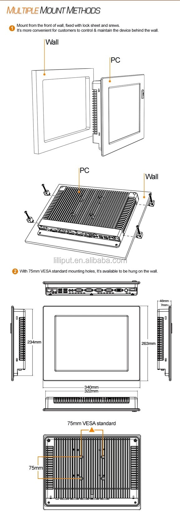 Lilliput 12 inch IP65 Industrial Panel Computer with Intel Atom D525 Processor CPU for industrial control
