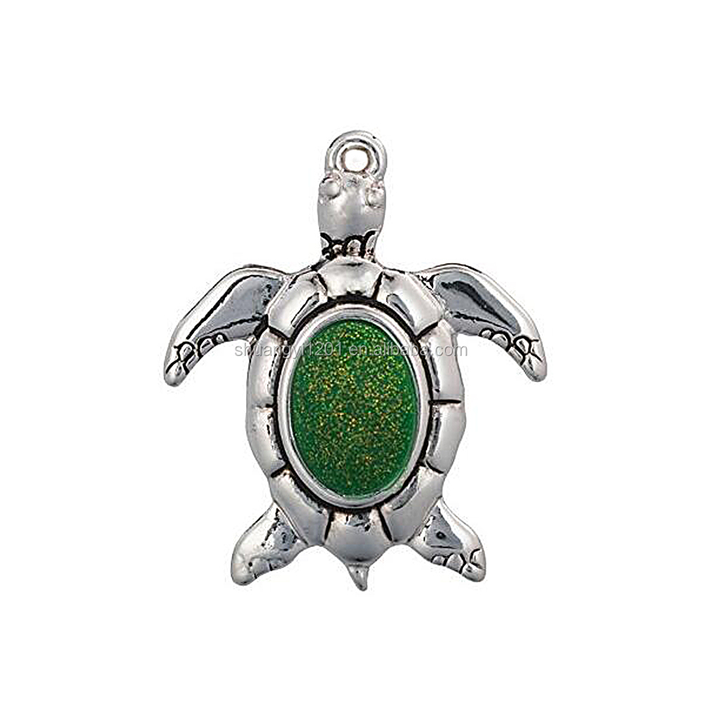 Personalized Custom Design Green Enamel Sea Animal Turtle Charms & Pendants For Necklaces