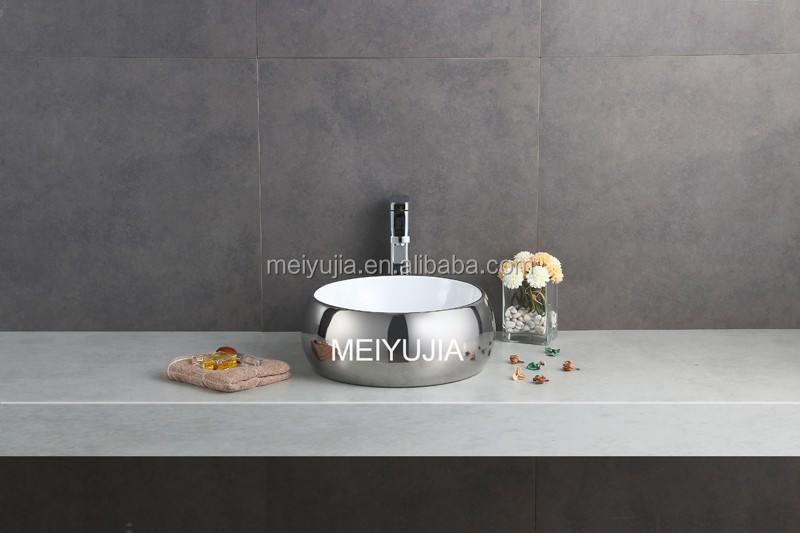 silver color round wash hand basin small size turkish sink for home