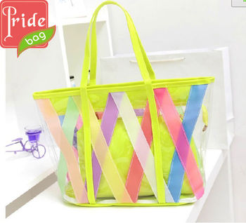 Large Transparent Colorful Candy Beach Bag Waterproof Tote Bags ...
