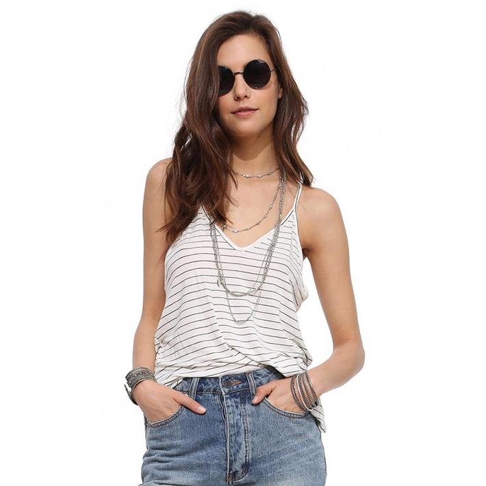 3d1a5625dea3 Get Quotations · 2015 White Black Striped Deep V-Neck Bckless Sleeveless Sexy  Tank Top Bustier Fitness Women