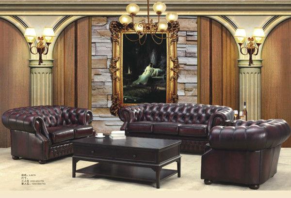 Cl sico estilo americano chesterfiel de lujo de cuero sof for Sofas de estilo clasico