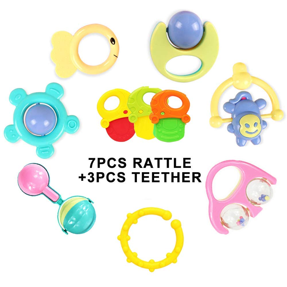 DUTISON 10pcs Baby Rattle Newborn Toys, Grab and Spin Rattle, Musical Toy Set, Early Educational Toys for 3, 6, 9, 12 Month Baby Infant, Rattle Play Toy Gift Set