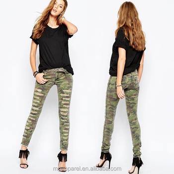 China Oem Women Denim Jeans Custom Printed Jeans Ripped Skinny Jeans In  Camo Print Wholesale - Buy Ripped Skinny Jeans,Custom Printed Jeans,Women