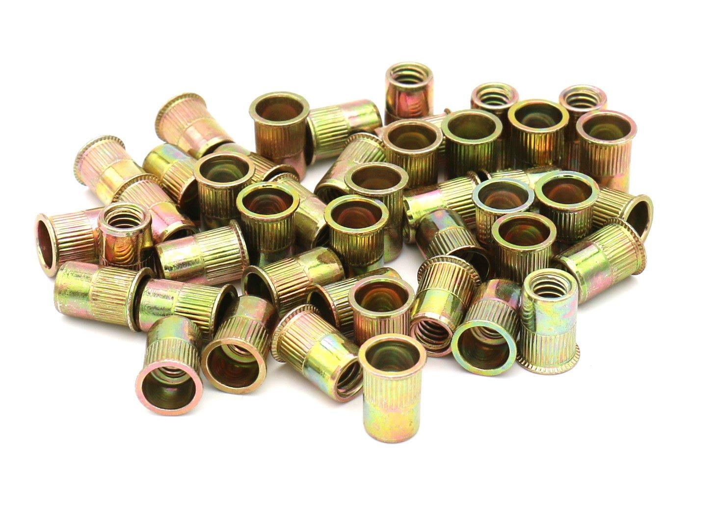 iExcell 1/4-20UNC Rivet Nut Flat Head Insert Nutsert,Yellow Zinc Plated, Carbon Steel ,Small Flat Head, Quantity 100