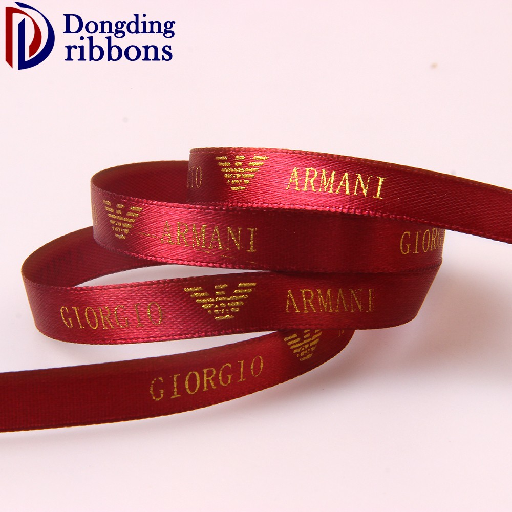Wholesale custom logo 12mm wine red printed gold foil satin ribbon for decoration