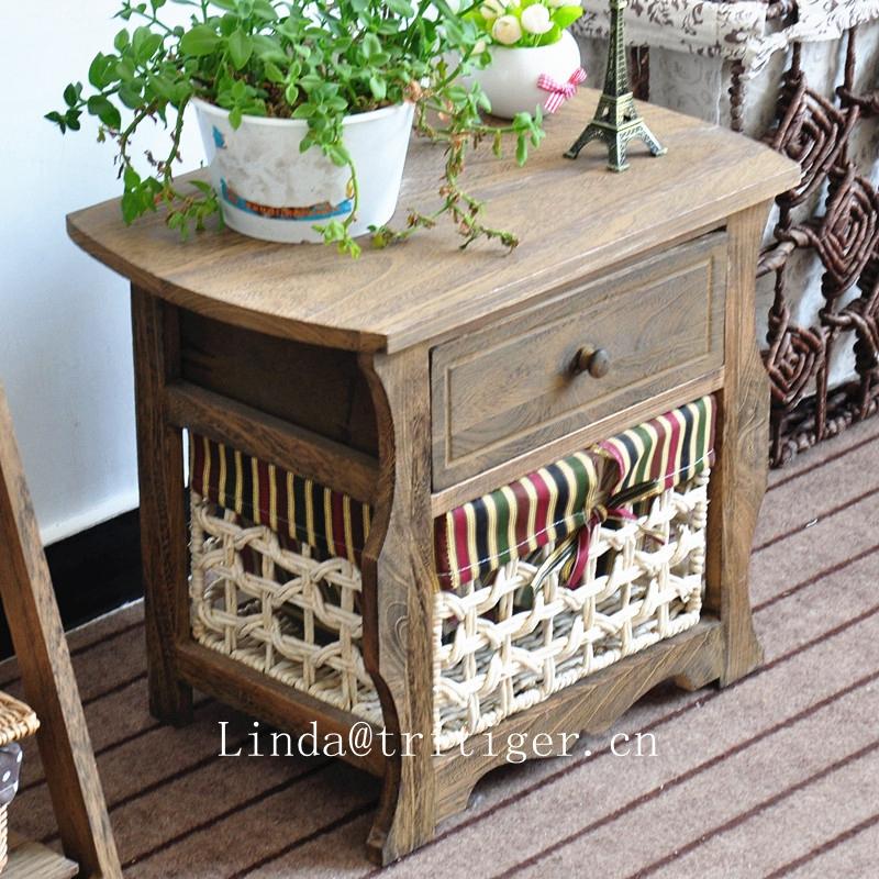 rustic living room rattan wicker furniture wood cabinet corner in white roast